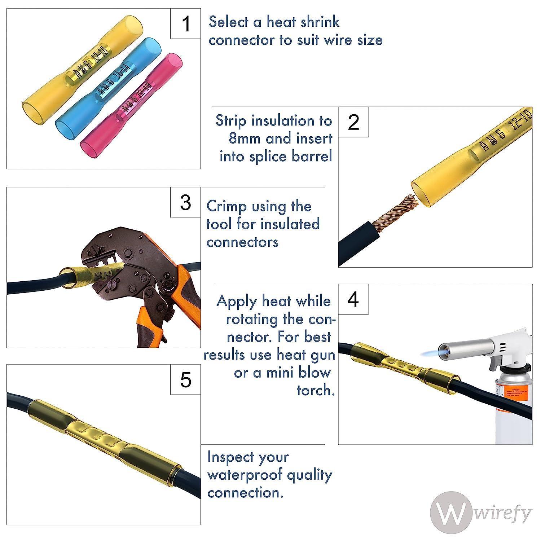 Amazon.com: 50 PCS Wirefy Heat Shrink Butt Connectors - Yellow 12-10 ...