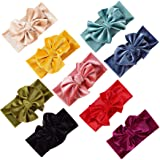 inSowni 9 Pack Super Stretchy Velvet Bow Knotted Headbands Turban Headwraps Hair Accessories for Baby Girls Toddlers Infants Kids