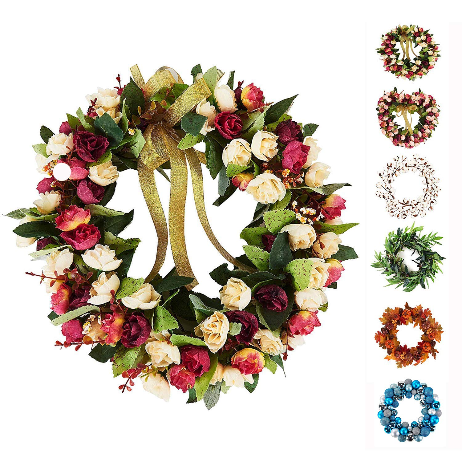 Amazon Com Baigio Woman 14inch Flower Wreath Handmade Artificial