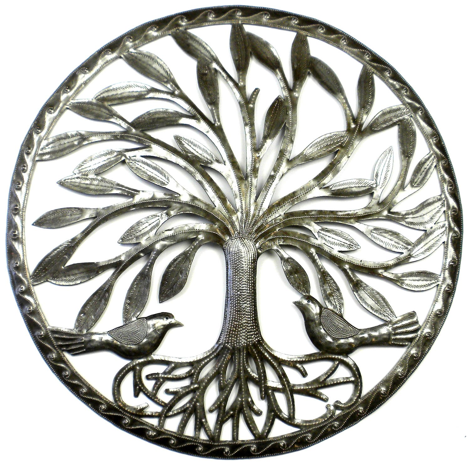 Global Crafts Tree of Life with Two Birds - 23 inch Metal Wall Art - Indoor or Outdoor Wall Art