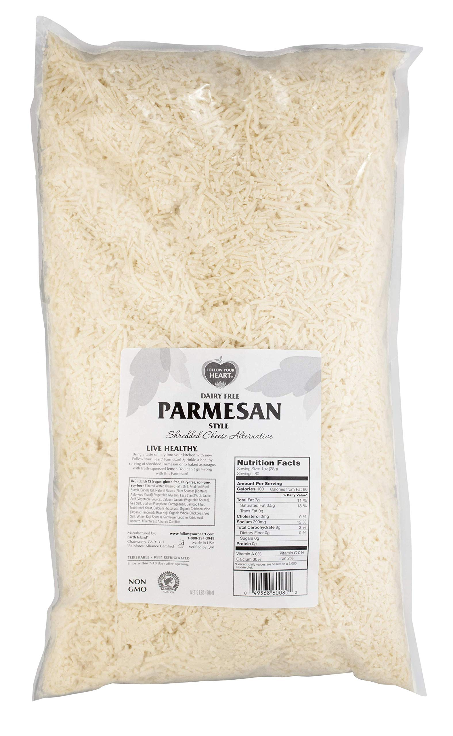 Follow Your Heart Dairy Free Vegan Shredded Parmesan Cheese Alternative 5 lb (Pack of 3)