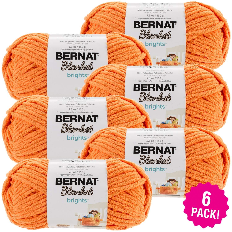 Bernat 99231 Blanket Brights Yarn-6/Pk-Carrot, 6/Pk Carrot Orange 6 Pack