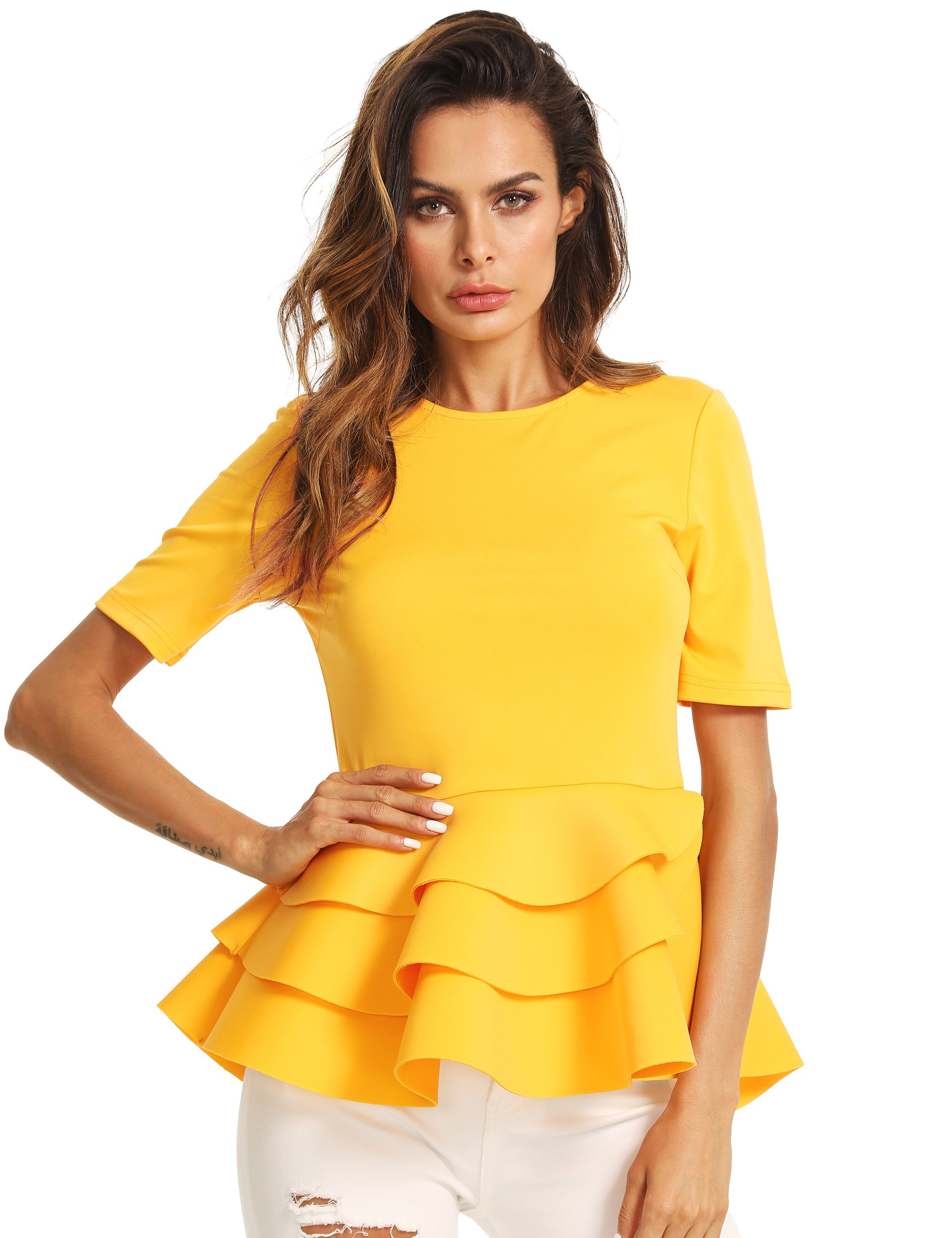 Romwe Women's Vintage Layered Ruffle Hem Slim Fit Round Neck Peplum Blouse Yellow XL