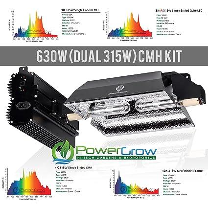 Grower's Choice 630NS (630w CMH/Dual 315W Ceramic Metal Halide Bulbs) -  Complete Setup ((1) 3K-R / (1) 3K)