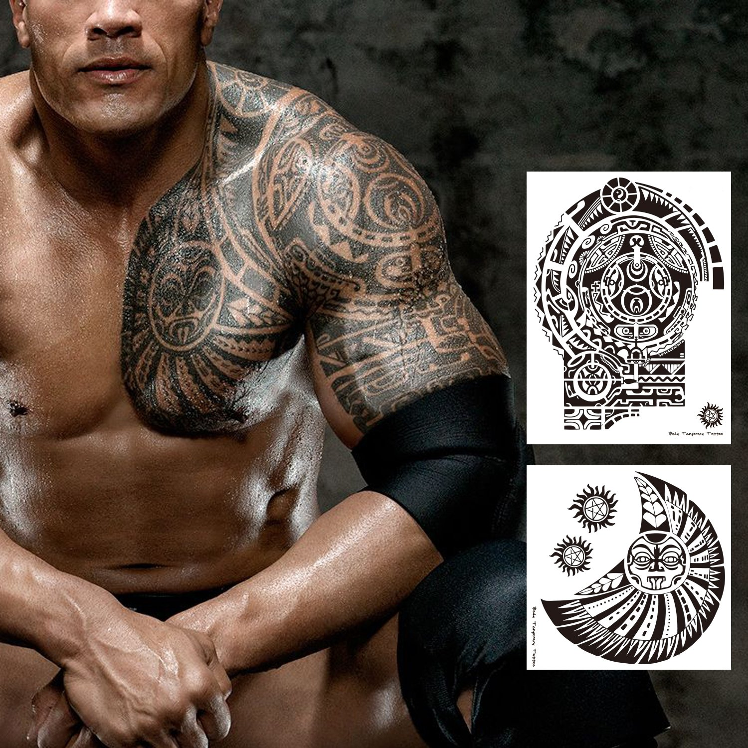 a91f3bab27500 Amazon.com : Leoars 2 Sheets Extra Large Temporary Tattoo Similar The Rock  Arm Chest Big Totem Body Tattoos Sticker for Men Women Make Up Waterproof  Fake ...