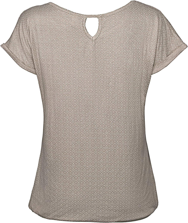 TrendiMax Damen T-Shirt Kurzarm Sommer Shirt mit Allover-Minimal Print Causal Oberteil Bluse Tops