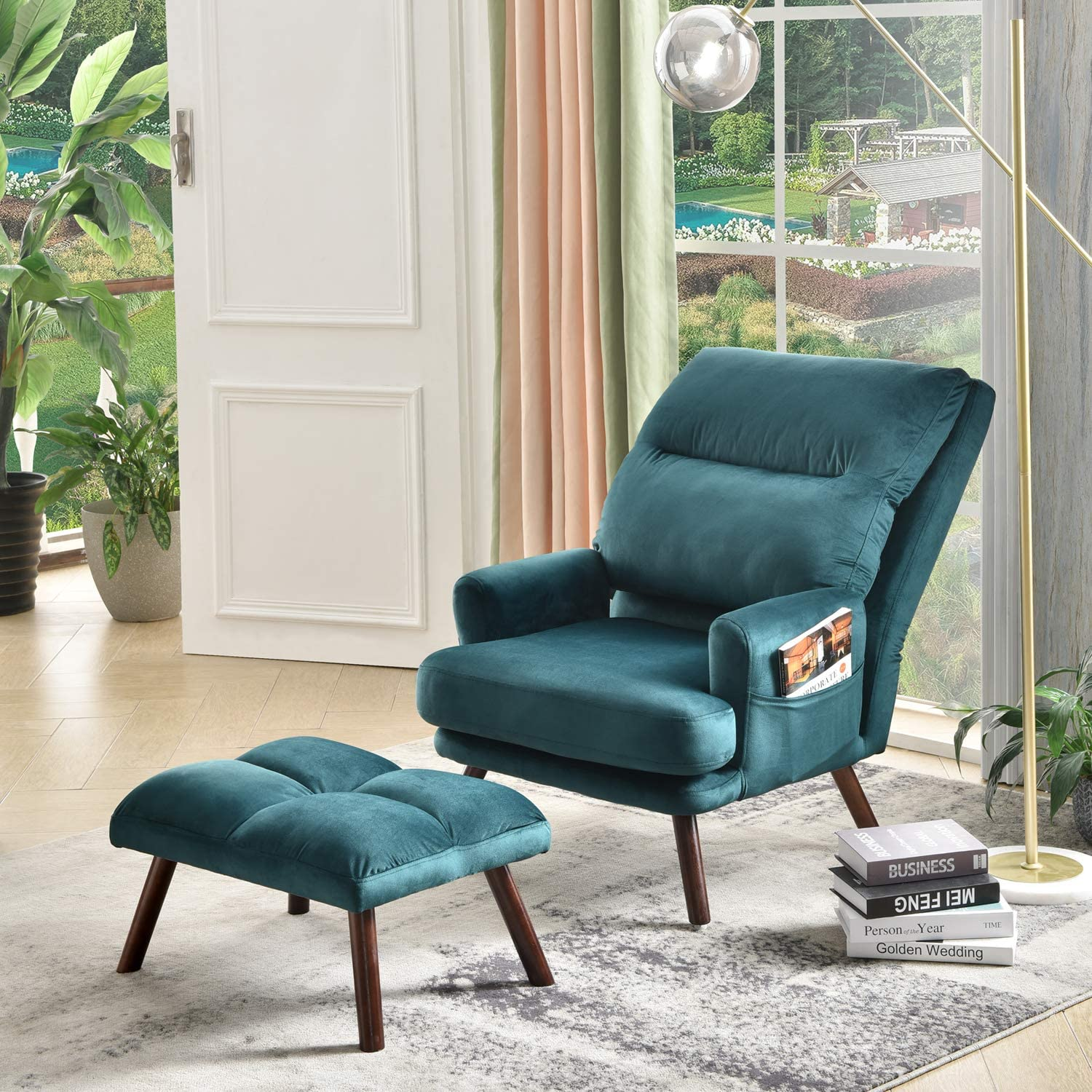 OVIOS Recliner Chair with Ottoman,Velvet wingback Chair,Mid Century Reading  Chair for Living Room,Adjustable Accent Chair,Sleeper,Lounge,Office