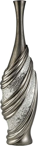 HP DDEH 31.5 h Silver Finished Decorative Vase
