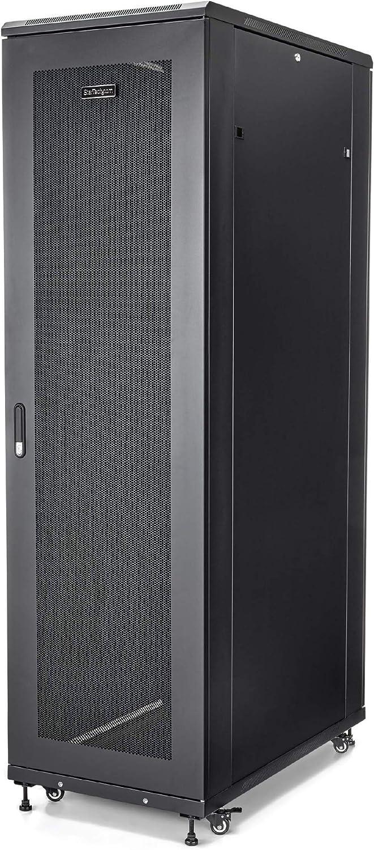 "StarTech.com 42U Server Rack Cabinet - 4-Post Adjustable Depth (6"" to 36"") IT Network Equipment Rack Enclosure with Casters - 2000lbs (RK4236BKB)"