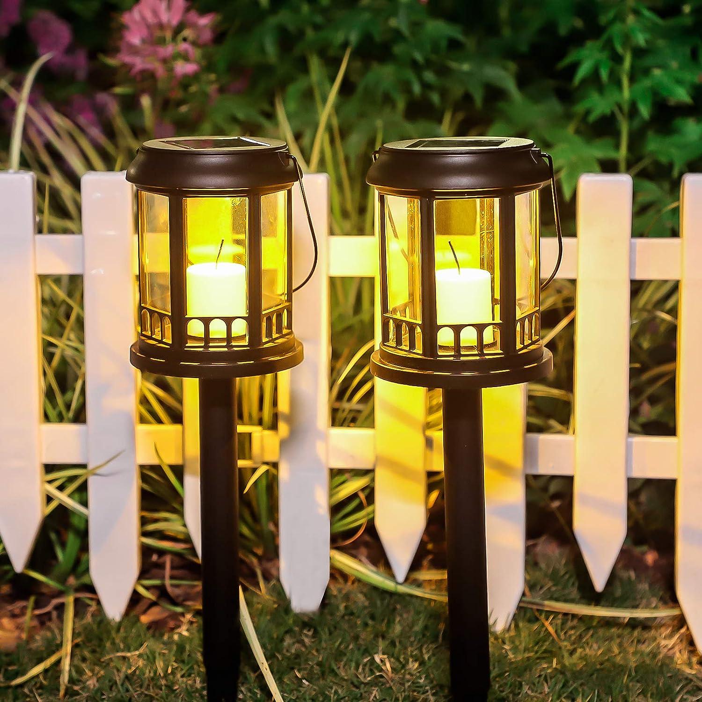 Solar Lights Outdoor, 2 Pack Plastic Outdoor Solar Lights - Waterproof, LED Landscape Lighting Solar Powered Outdoor Lights Solar Garden Lights for Pathway Walkway Patio Yard & Lawn (Black)