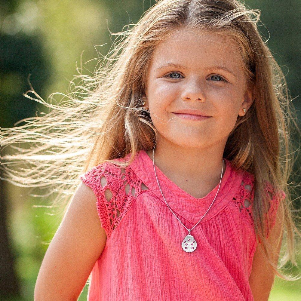In Season Jewelry Ladybug Photo Locket Pendant Necklace Pink Crystals Girls Kids 16