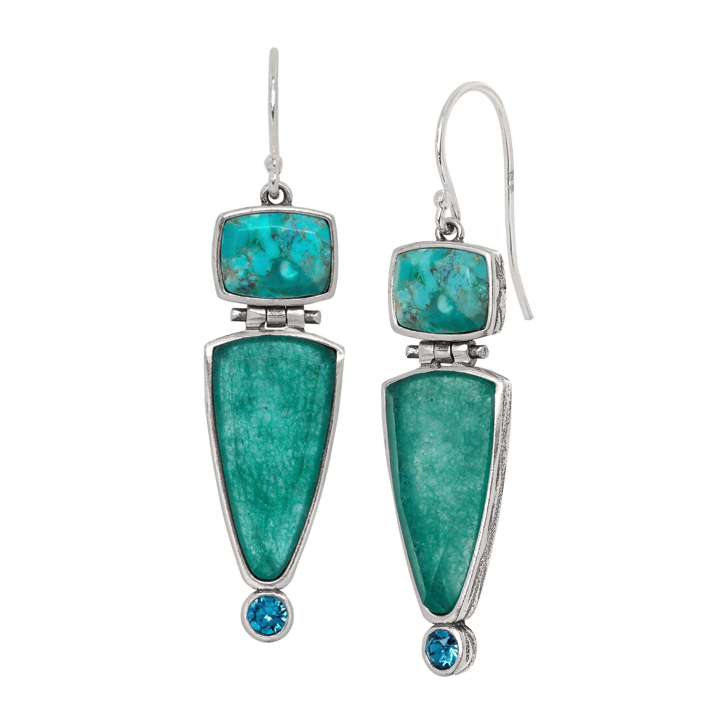 Silpada 'True Colors' Compressed Turquoise and Quartzite Drop Earrings with Swarovski Crystals in Sterling Silver