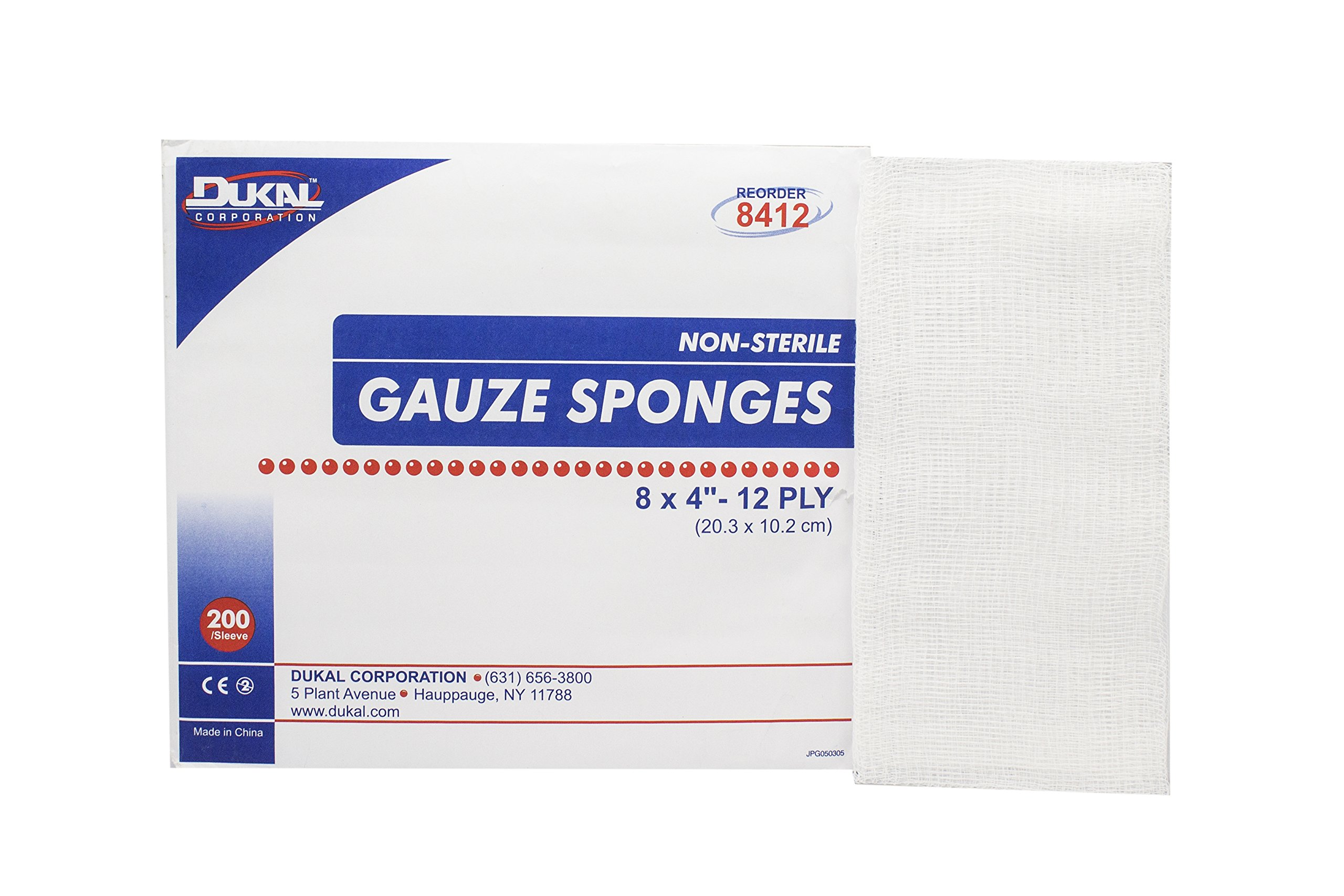Dukal 8412 Gauze Sponge, Non-Sterile, 8'' L x 4'' W, 12-Ply (10 Bags of 200) (Pack of 2000)