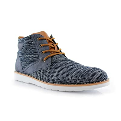 Polar Fox Bohort MPX506060 Mens Memory Foam Mid-Top Sneaker Knitted Perforated Two-Tone Casual Chukka Boots | Fashion Sneakers
