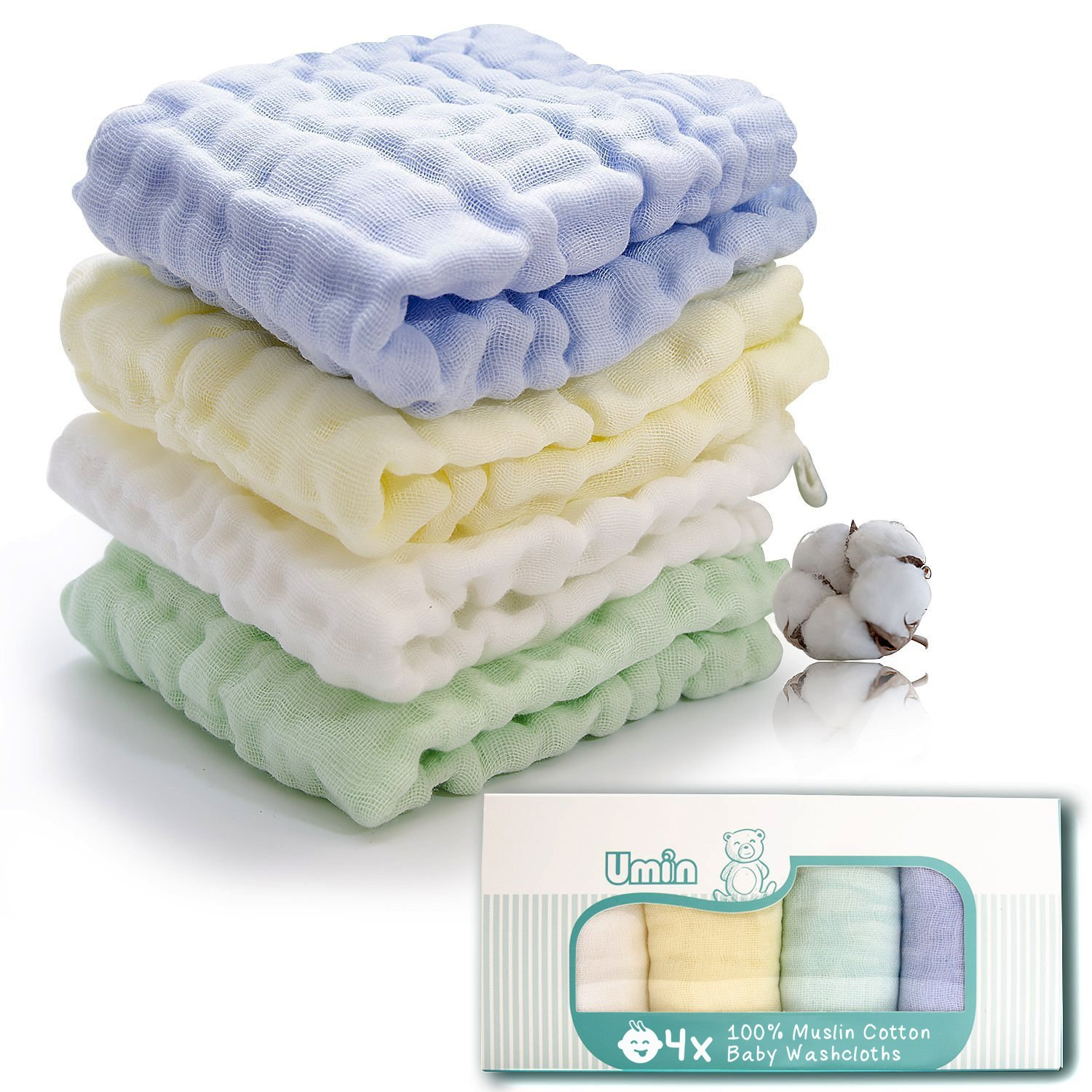Umiin Baby Washcloths, Super Soft Natural Cotton Baby Muslin Washcloths and Baby Face Towel for Sensitive Skin, Perfect Baby Gifts,12 x 12 inches, Set of 4