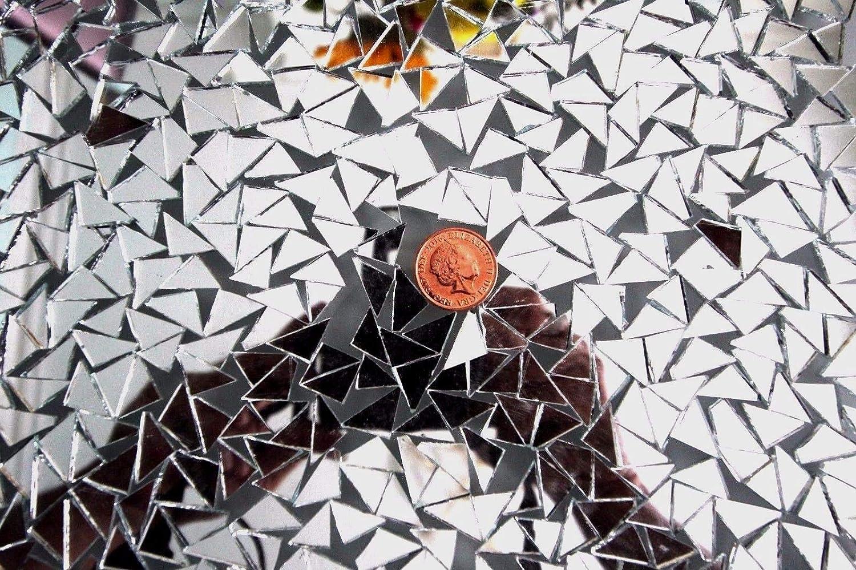 Azulejos para espejo de mosaico, color plateado, 500 unidades, triangulares, 1 x 1 x 1,5 cm, 2 mm de grosor Mosaic Colour Mirror