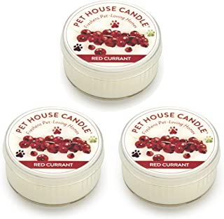 product image for One Fur All Pet House Mini Candle Set, Pack of 3 - Red Currant - Pet Odor Eliminator Candle, Burn Time - 10-12 Hours Pet Candle, Non-Toxic, Ideal for Smaller Spaces