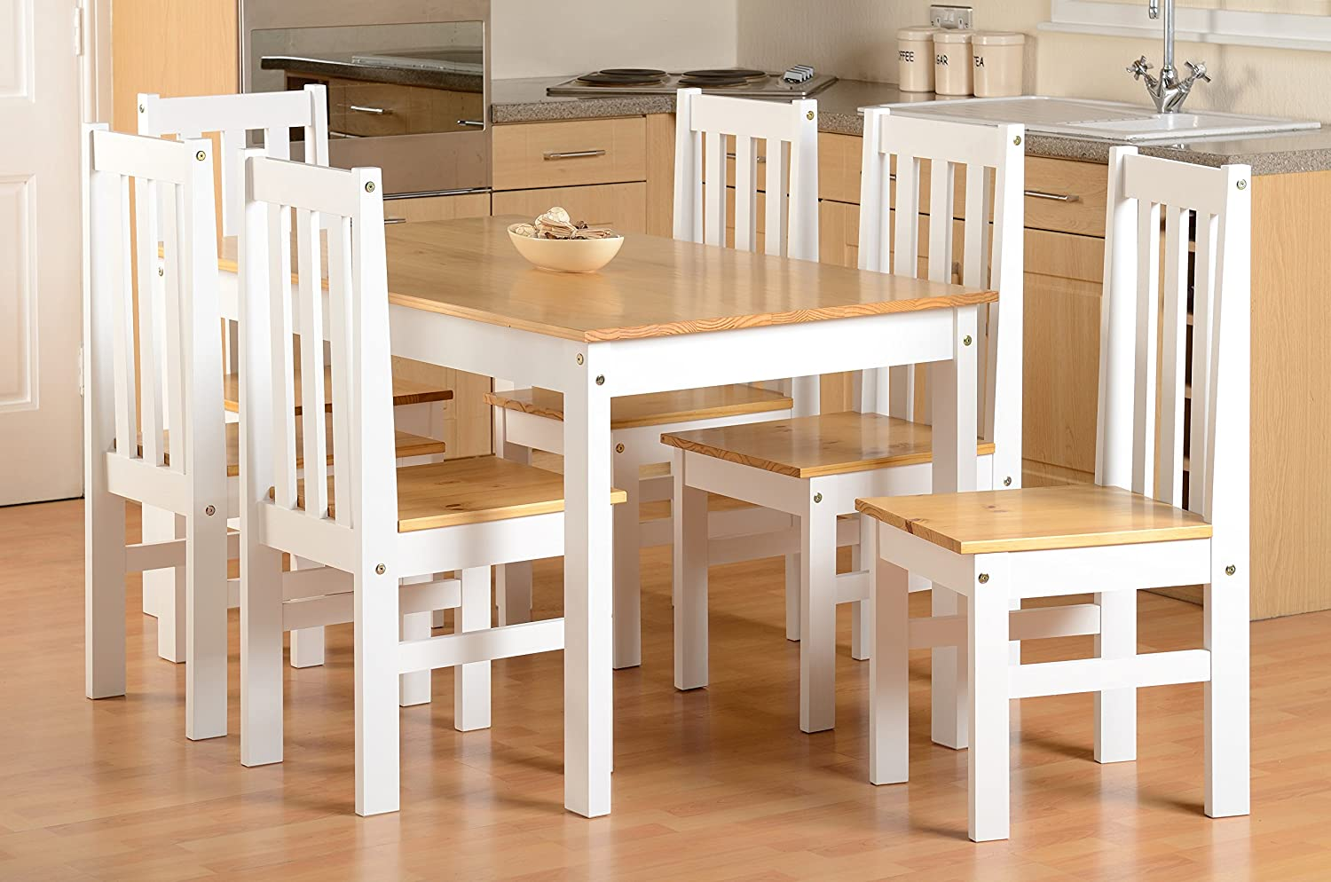 Miraculous Seconique Ludlow Large Dining Set White And Oak Dining Table And 6 Slatted Highback Chairs Download Free Architecture Designs Embacsunscenecom