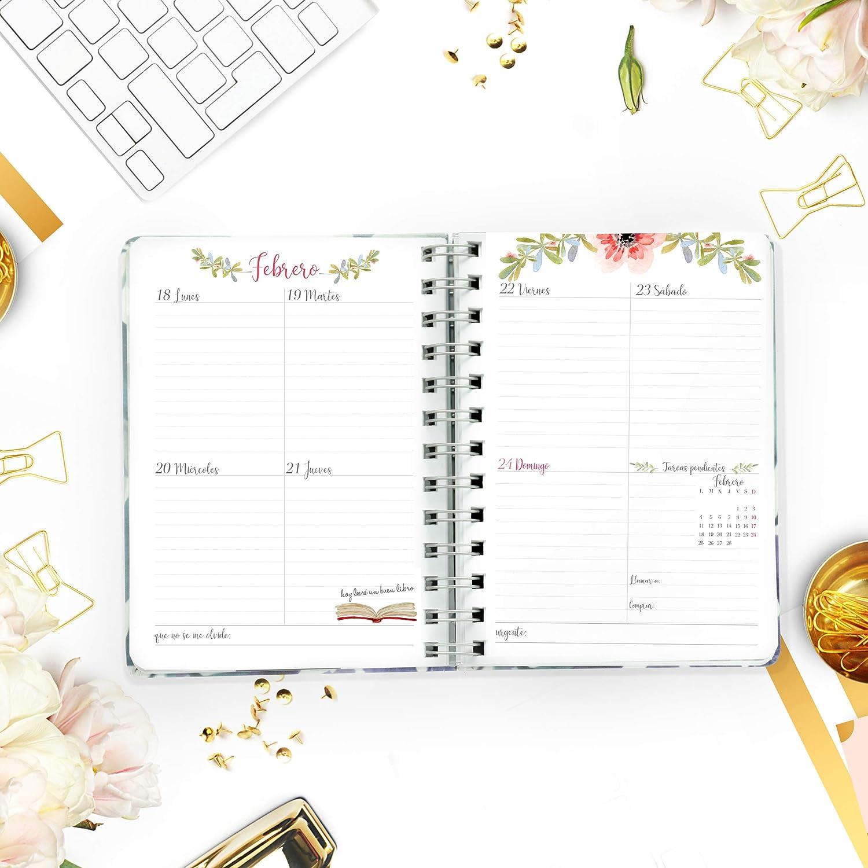 Agenda Pocket De Tela 2019 - Takenote Lilas- Encuadernación Wire-o - Semana Vista - Tamaño 12x16