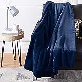 "Amazon Basics Fuzzy, Micro Plush Fleece Blanket, All Seasons - 50"" x 60"", Navy"