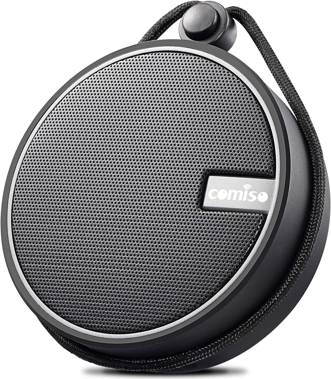 Altavoz Bluetooth Ducha, COMISO IPX7 Impermeable Altavoz Inalambrico Portátil con Ventosa, Micrófono Integrado, 12 Horas para Hogar Fiesta Ducha Baño y Piscina