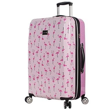 BETSEY JOHNSON Flamingo Strut 26  Hardside Checked Spinner Luggage (Flamingo