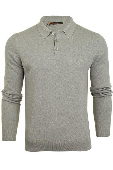 effd68e0af63 Mens Ben Sherman Mens Long Sleeve Knit Polo Shirt in Grey Marl - S ...