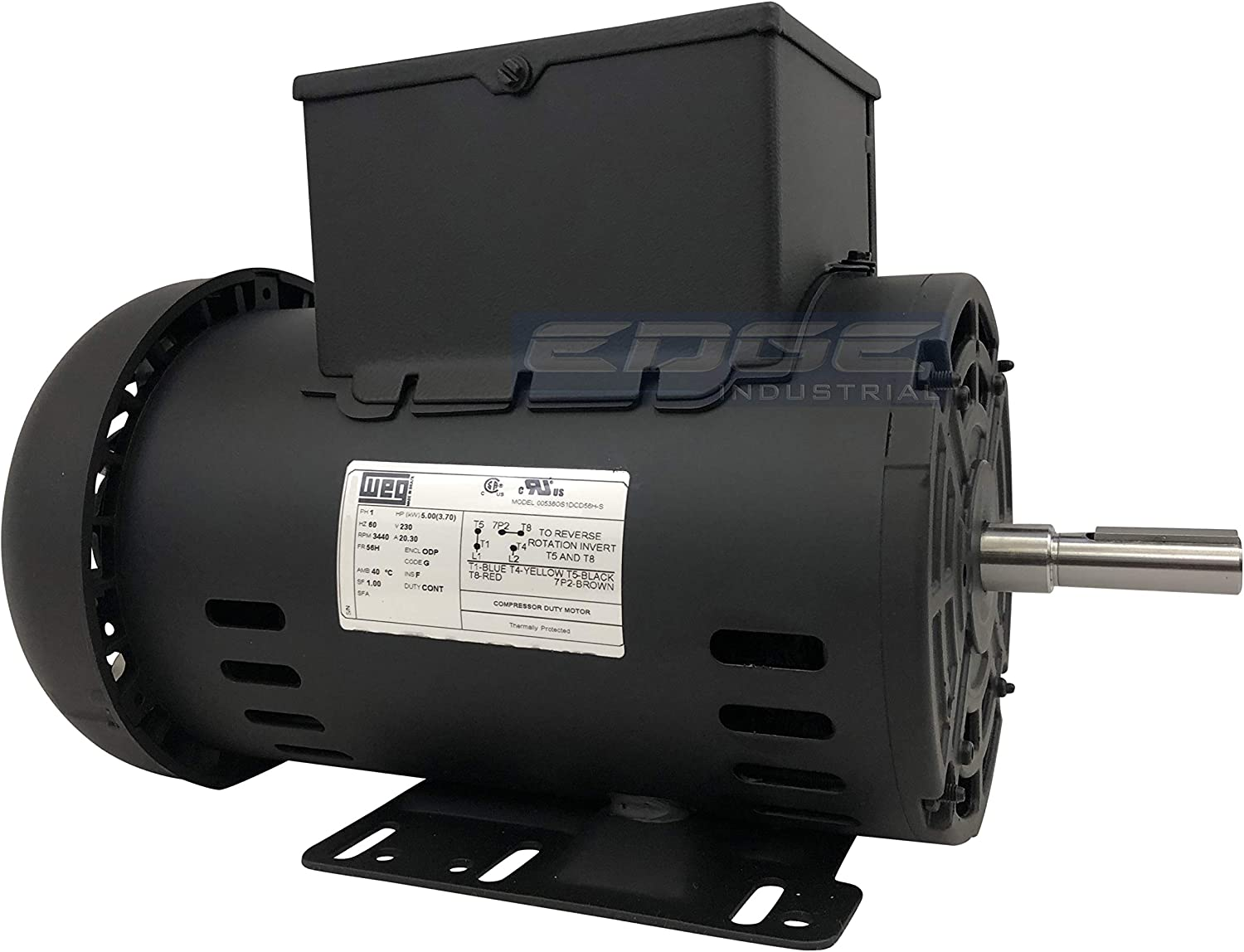 "New 5HP Electric Motor for air Compressor 56 Frame 3440 RPM 5/8"" Shaft 20.3 AMP 230 Volt"