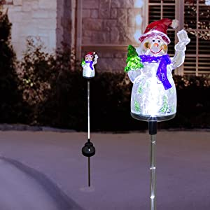 "Alpine Corporation QLP1103SLR-2 Alpine 34"" Tall Solar Snowman Fiber Optic LED Lights, Set of 2 Garden Stake, Multicolor"