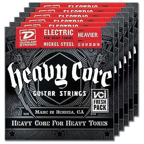 6-Pack de Jim Dunlop Heavy Core más cuerdas para guitarra eléctrica 11