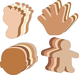 "product image for 5.5"" Multicultural Body Parts Large Creative Cut-Out Set, with Face, Person, Foot, Hand, 31 Cut-Outs per Design in a Pack for Classroom Décor, All About Me Activities, and Craft Activities for Kids"