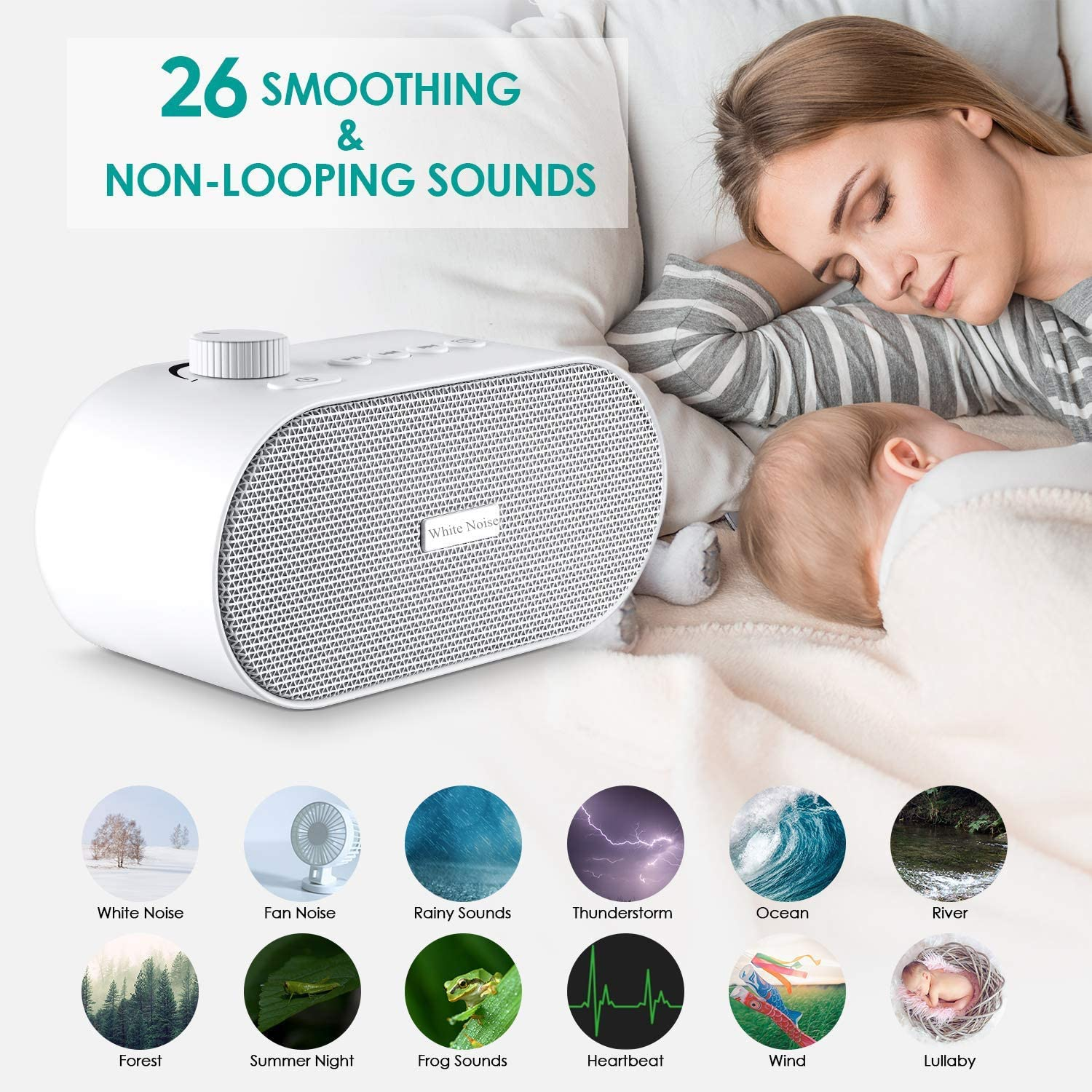 A1 White Noise Machine for Sleeping, Portable Sleep Sound Therapy Machine with 26 Non-looping Soothing Sounds, USB Output Charger, Travel Sleep Auto-Off Timer for Baby Kids Adults White White