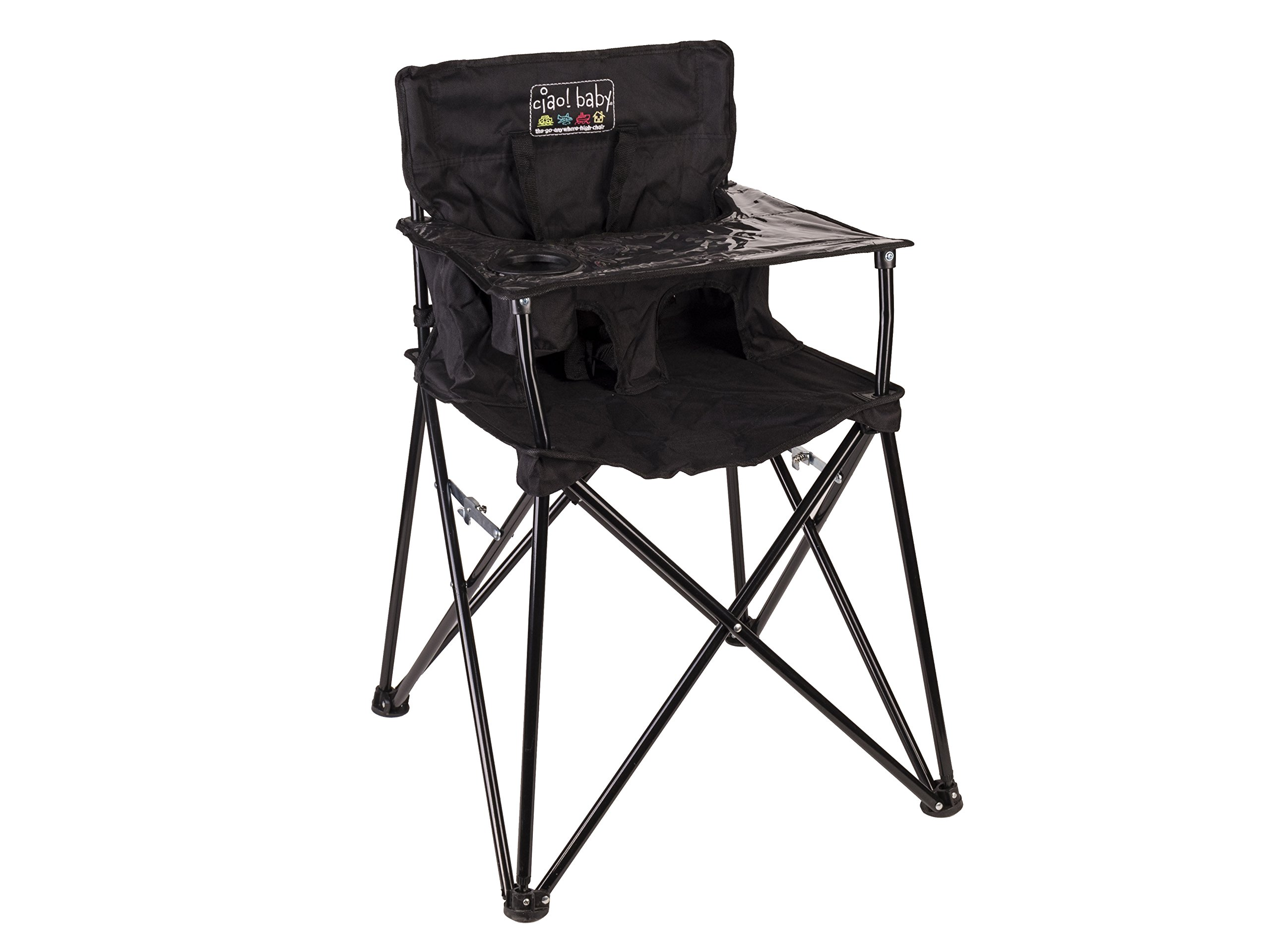 ciao! baby Portable High Chair for Travel, Fold Up High Chair with Tray, Black by ciao! baby
