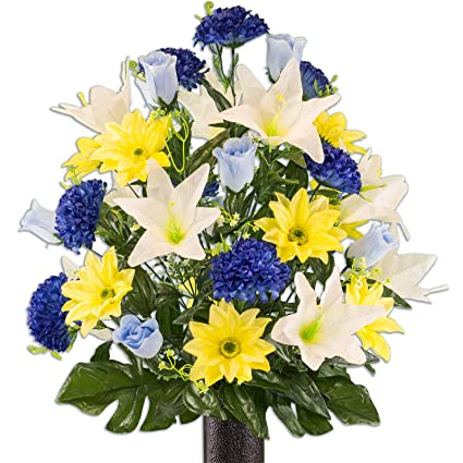 Amazon Yellow Gerbera And White Lily Mix Artificial Bouquet