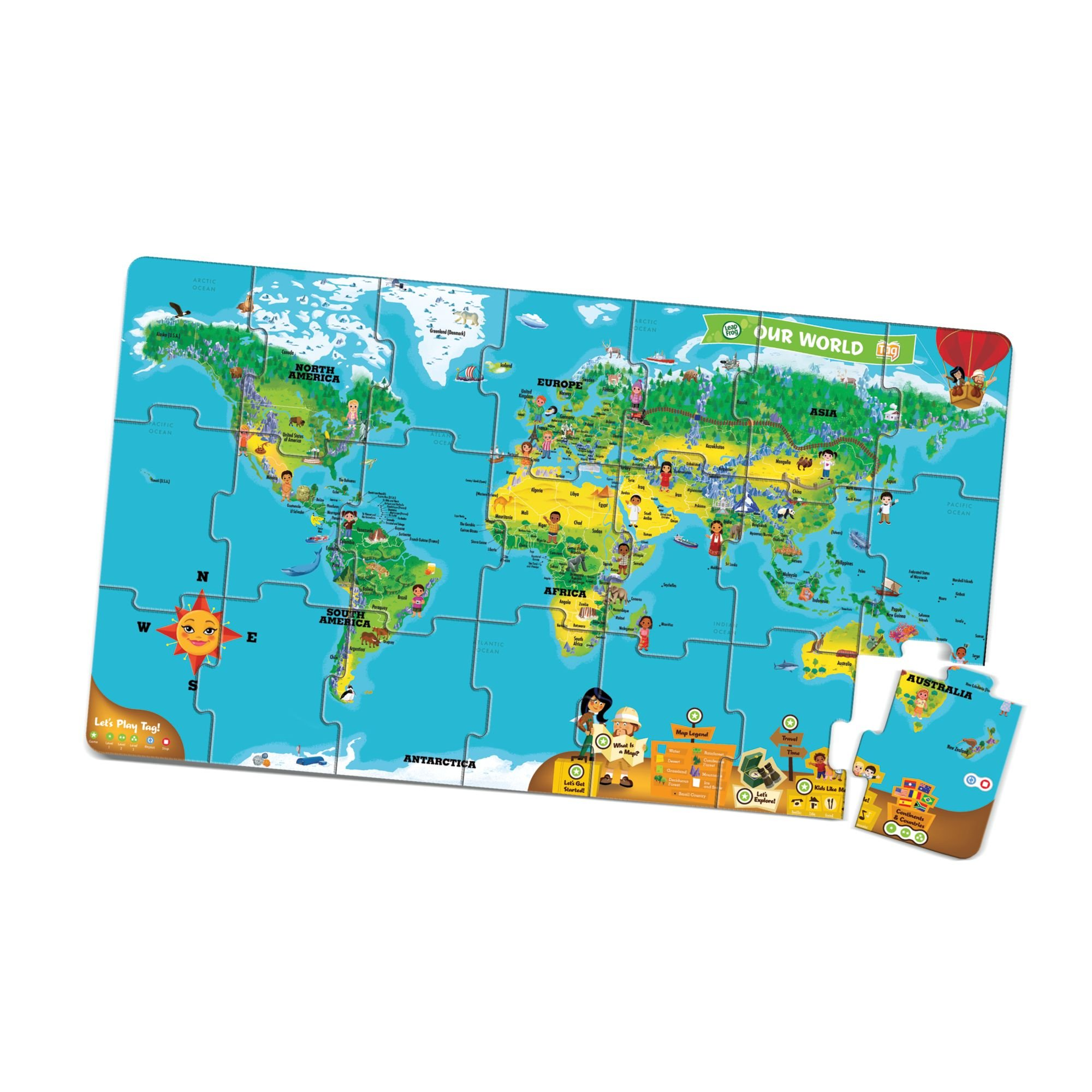 LeapFrog LeapReader Interactive World Map Puzzle (works with Tag)