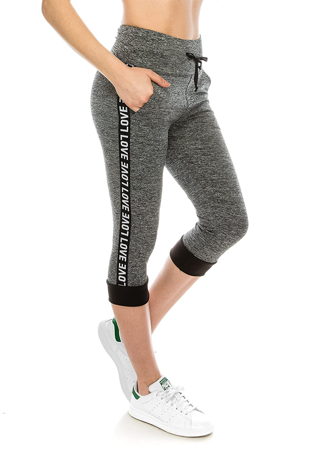 Capri   Grey Black Always Women High Waisted Leggings  Stretch Yoga Workout Marbled with Drawstrings and Pockets