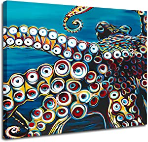 Anddy Wild Octopus I -Home Décor Wall Art Painting Print Framed Canvas for Living Room, Bedroom Decorative Artwork