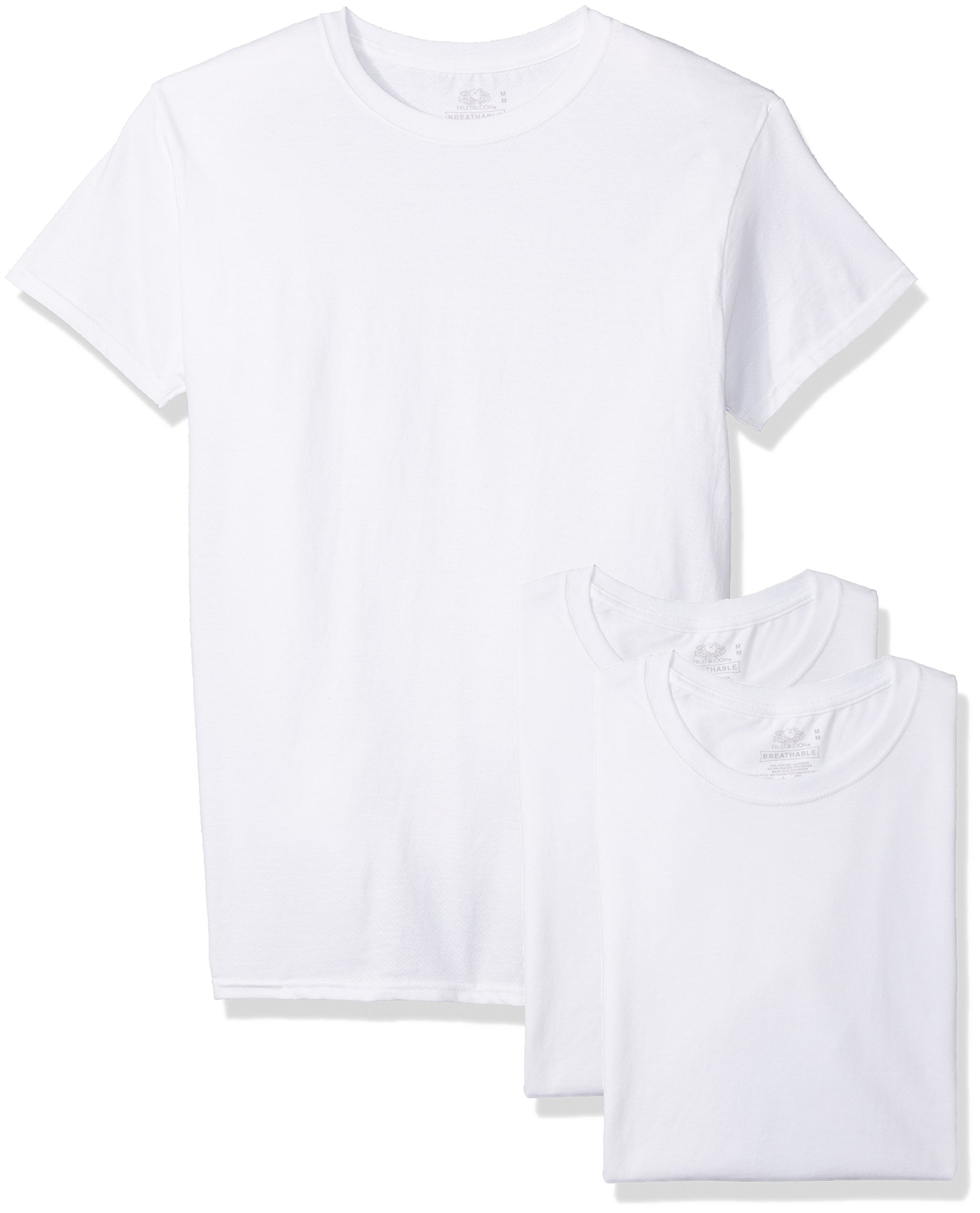 Fruit of the Loom Men's 3-Pack Breathable Crew T-Shirt, White Ice, Large