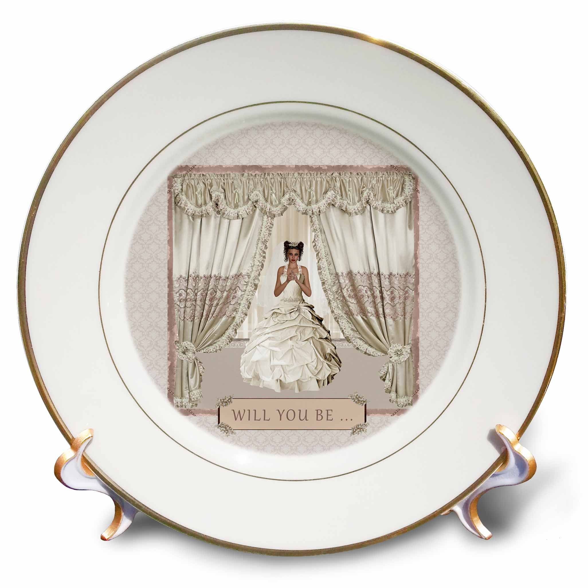 3dRose Beverly Turner Wedding Bridal Party Design - Bride in Wedding Gown, Drapes in Window, Will you be, Cream and Rose - 8 inch Porcelain Plate (cp_282067_1) by 3dRose (Image #1)