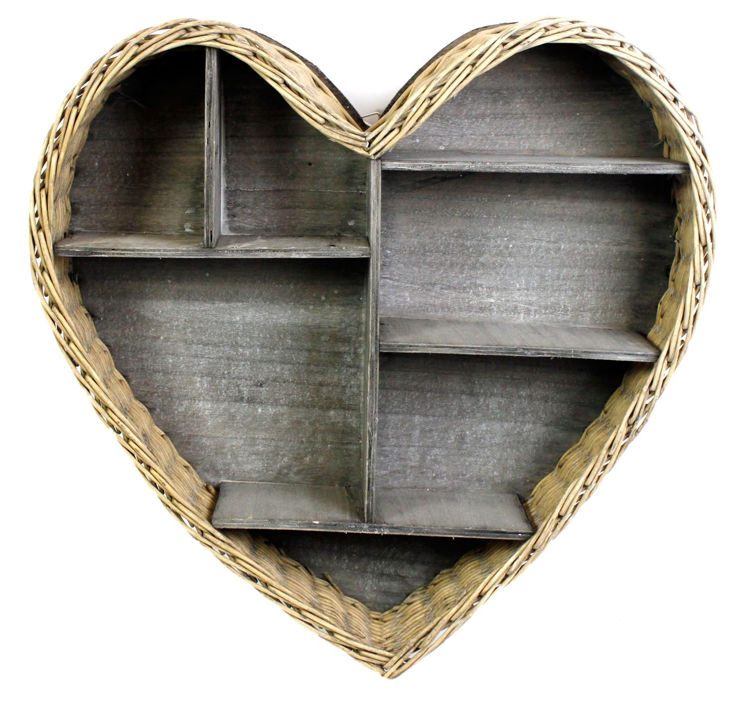 Penzer Large Heart Wicker & Wooden Display shelves wall unit