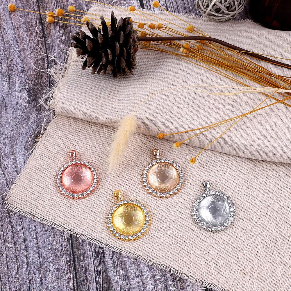 20 Sets 1 Heart Pendant With Glass Dome 25mm Pendant Kits Glass Cabochons Fit Perfect Necklace earrings DIY Crafts Silver Plate Pendants