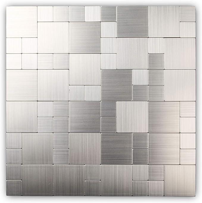 Peel And Stick Backsplash Tiles On Kitchen Wall Stainless Steel Wall Tiles For Kitchen Backsplash 12x12inch Sample Amazon Com