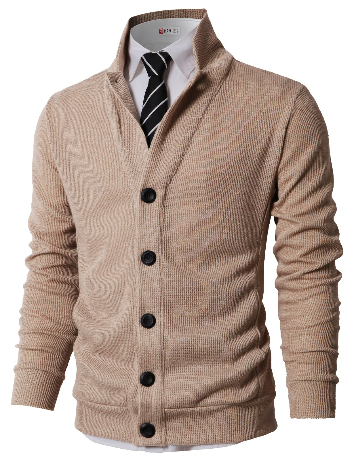 H2H Mens Casual Stand Collar Cable Knitted Button Down Cardigan Sweater Beige US L/Asia XL (KMOCAL0182)