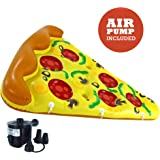 Luxury Inflatable Pizza Pool Float - Includes Pump - Giant Slice of Pizza Swimming Pool Raft