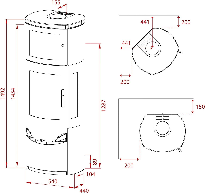 Rauchabgang oben//A Lotus LO-324 Prio 7M Kaminofen Grau//Speckstein//Seitenglas