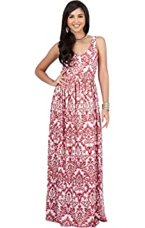 19be857df0bd KOH KOH Womens Long Sleeveless V-Neck Summer Flowy Cute Cocktail Gown Maxi  Dress