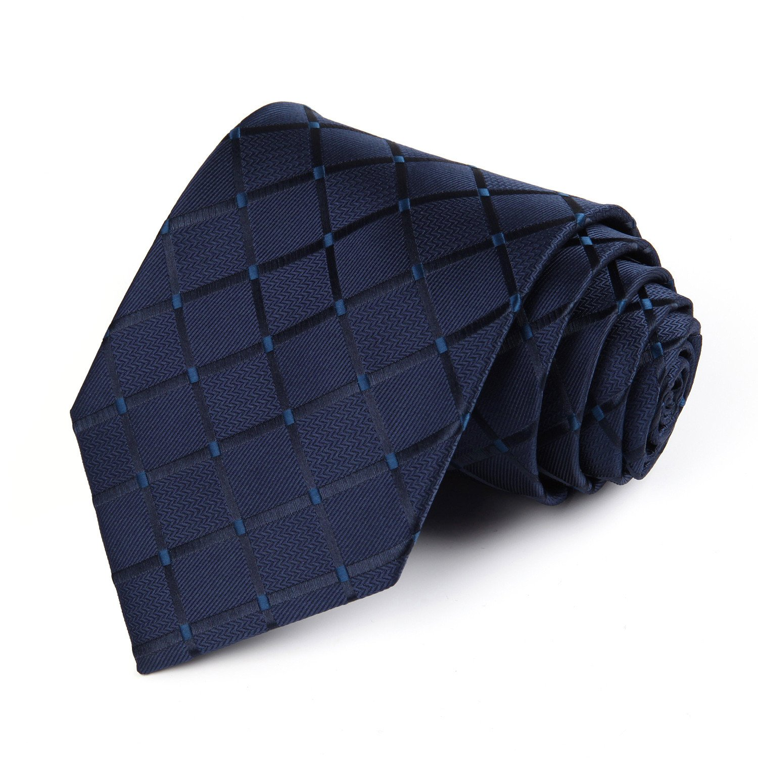HISDERN Extra Long Check Tie Men's Necktie Blue