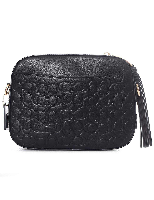 e0e1ac96c Amazon.com: COACH Women's Signature Leather Camera Bag Gold/Black One Size:  Clothing