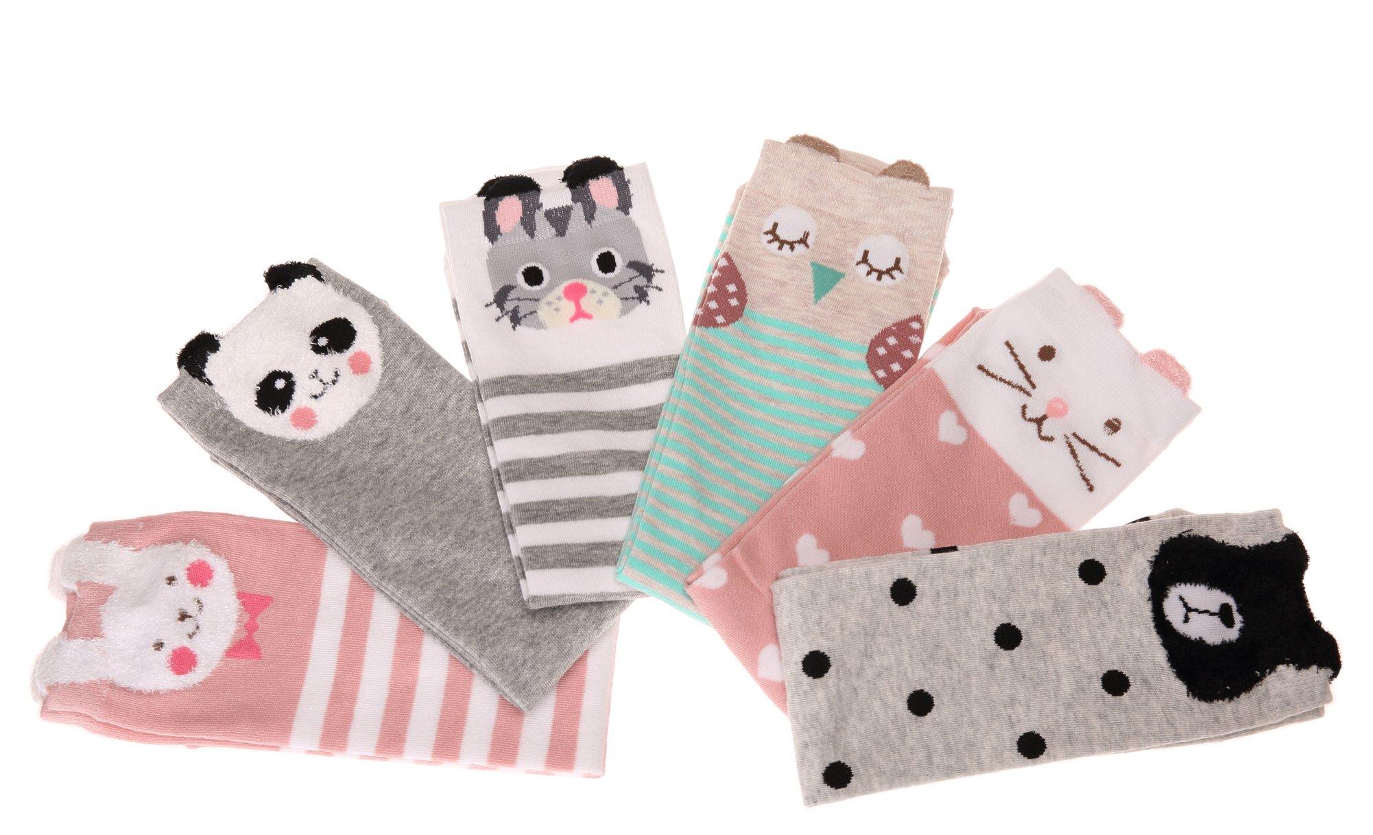 Color City Kids Girls Socks Knee High Stockings Cartoon Animal Theme Cotton Socks (6 Pairs) by Color City (Image #4)