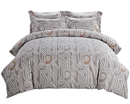 Amazon Com Geometry Design Duvet Cover Set Grey Duvet Covers With